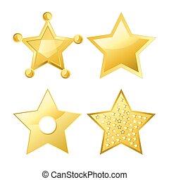 formen, five-pointed, slät, yta, lysande, stjärnor, flera, ...