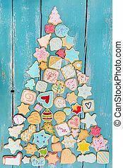 formen, pl?tzchen, oder, tannenbaum, kekse, bunte, ...