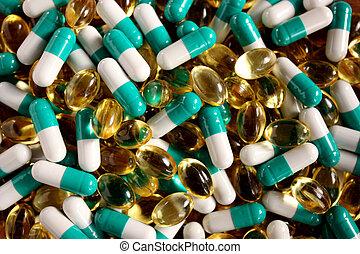 formen, streuung, verschieden, tabletten, farben