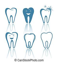 formen, vektor, tänder