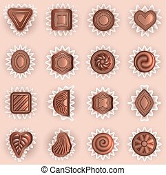 formen, verschieden, schokoladen, draufsicht