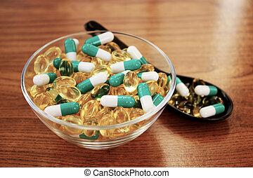 formen, verschieden, streuung, pillen