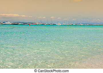 Formentera balearic island view from sea of the west coast