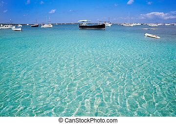 Formentera boats at Estany des Peix lake