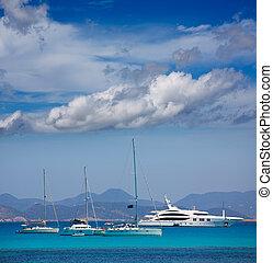 formentera, costa, ibiza, barcos, âncora, vista