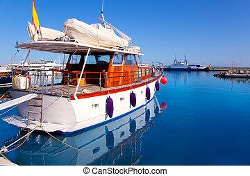 Formentera island port with boats in La Savina - Balearic ...