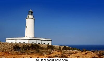 Formentera La Mola lighthouse in the blue Mediterranean sea...