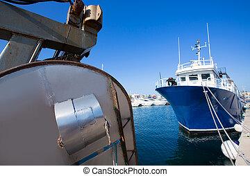 Formentera marina trawler fishing boats in Balearic Islands