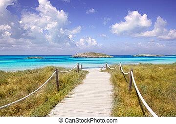 formentera, sandstrand, illetas, weg, paradies