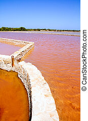 Formentera Ses Salines saltworks red water - Formentera Ses...