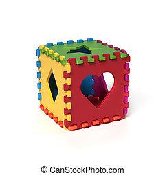 former, coussins, mousse, puzzle, cubique
