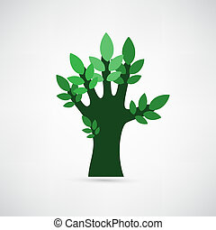 former, feuilles, arbre, main