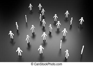 former, individus, illustration, foule, 3d