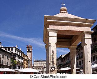 Former pilloried on the Piazza delle Erbe in Verona, Veneto, Italy
