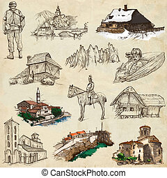 Travel series: Former Republics of YUGOSLAVIA - Collection of an hand drawn illustrations (pack no.3). Description: Full sized hand drawn illustrations drawing on old paper.