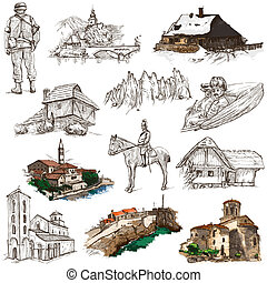 Travel series: Former Republics of YUGOSLAVIA - Collection of an hand drawn illustrations (pack no.3). Description: Full sized hand drawn illustrations drawing on white background.