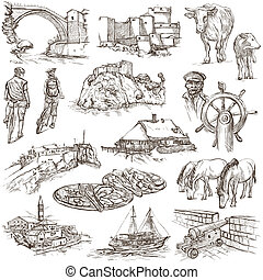 Travel series: Former Republics of YUGOSLAVIA - Collection of an hand drawn illustrations (pack no.1). Description: Full sized hand drawn illustrations drawing on white background.