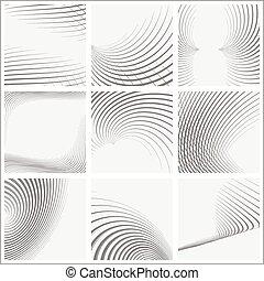formerna, randig, sätta, abstrakt