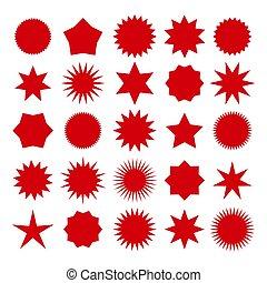 formes, étoile, rouges, éclater