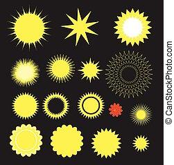 formes, étoiles, retro, éclatement