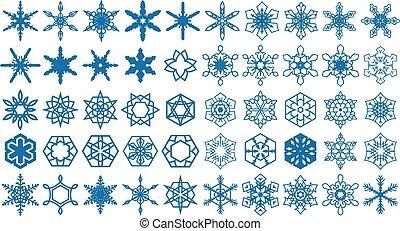 formes, 1, ensemble, flocons neige