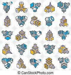 formes, 3d, set., résumé, conceptions, vecteur