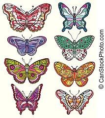 formes, butterflies., ensemble, divers, coloré