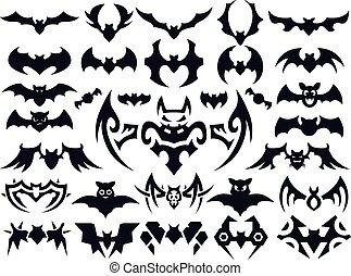 formes, chauve-souris, ensemble, halloween, vecteur