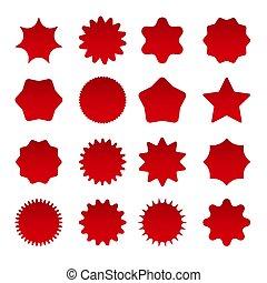 formes, coût, étoile, rouges, éclater
