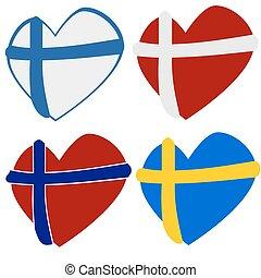 formes, coeur, scandinave