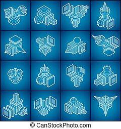 formes, collection., résumé, vecteur
