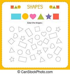 formes, coloration, multiple, techniques, worksheet, shapes., jardin enfants, moteur, apprendre, pratiquer, géométrique, ou, préscolaire, figures.