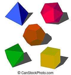 formes, colorfull, géométrique, vecteur, 3d