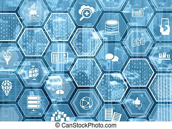 formes, concept, grand, brouillé, symboles, fond, hexagone, données