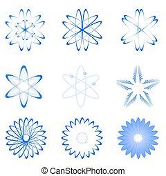 formes, différent, atome