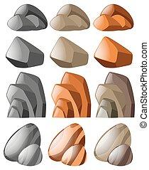 formes, différent, pierre