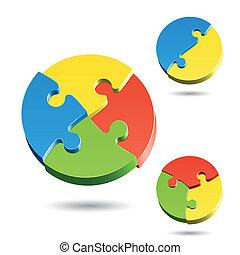 formes, différent, puzzle