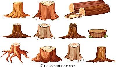 formes, différent, souche, arbres
