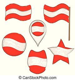formes, drapeau autriche, defferent, exécuté