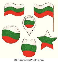 formes, drapeau, exécuté, defferent, bulgarie