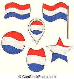 formes, drapeau, exécuté, defferent, luxembourg