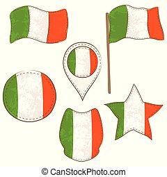 formes, drapeau, irlande, exécuté, defferent