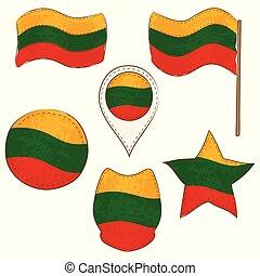 formes, drapeau, lituanie, exécuté, defferent