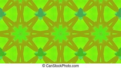 formes, en mouvement, kaléidoscope, résumé vert