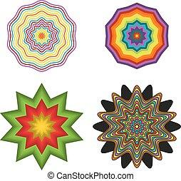 formes, ensemble, 4, coloré