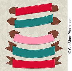 formes, ensemble, divers, rubans, coloré