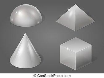 formes, ensemble, métal