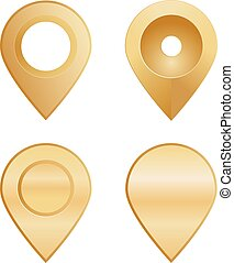 formes, epingles, différent, emplacement, or