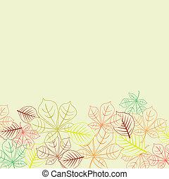 formes, feuilles, automnal, fond