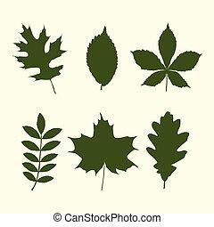 formes, feuilles, ensemble, arbre